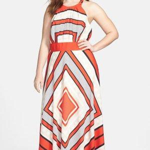 Eliza J Scarf Print Fit & Flare Maxi Dress Plus 16